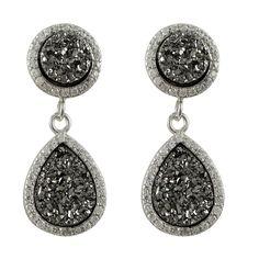 Luxiro Sterling Silver Druzy Quartz and Cubic Zirconia Graduated Teardrop Earrings