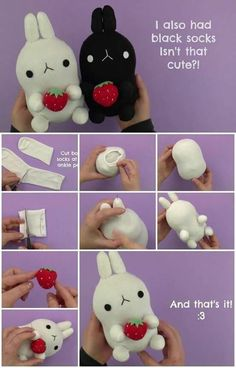 Plushies are some of every kid's favorite toys. Some have trouble saying goodbye to their favorite stuffed creatures even as adults. Of course, you can Diy Toys Easy, Easy Diys For Kids, Diy Sock Toys, Diy Plush Toys, Sock Crafts, Cute Crafts, Felt Crafts, Sewing Toys, Sewing Crafts