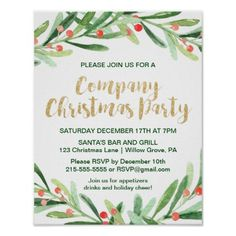 Holly wreath merry christmas small gift bag holly wreath company christmas party invitation poster stopboris Gallery