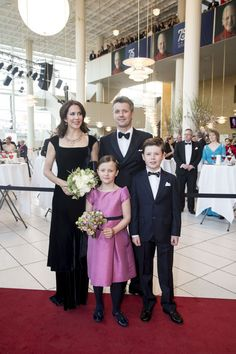 Crown Princess Mary and Crown Prince Frederik with their two eldest children, Princess Isabella and Prince Christian pictured at the Queen's 75 birthday gala in Aarhus.