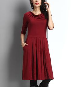 Look at this #zulilyfind! Burgundy Cowl Neck Fit & Flare Dress by Reborn Collection #zulilyfinds