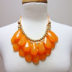 NEW Orange Large Teardrop Bib Statement Necklace Brand New Never Worn Anthropologie Inspired Statement Necklace. Gorgeous orange color, perfect for spring! Jewelry Necklaces