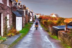 Main street at rush hour, Isle of Iona