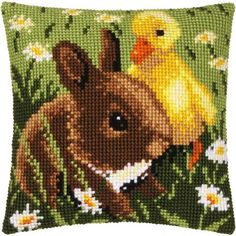 Vervaco® Rabbit & Chick Pillow Cover Needlepoint Kit $34.99