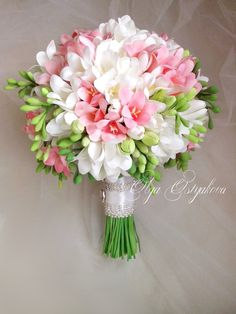 Items similar to White, pink freesia bouquet with boutonniere. Handmade bouquet on Etsy White, pink freesia bouquet with boutonniere. Prom Flowers, Bridal Flowers, Flower Bouquet Wedding, Flower Bouquets, Flower Centerpieces, Wedding Centerpieces, Wedding Decorations, Tall Centerpiece, Freesia Bridal Bouquet