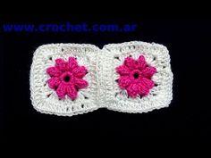 Union del Motivo Nº 5 granny square en tejido crochet tutorial paso a paso.