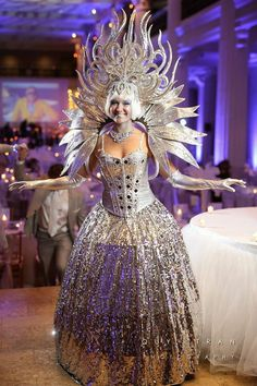 Gorgeous silver winter ice diva from J&D Entertainment Houston, TX, Houston wedding entertainment, corporate holiday party www.jdentertain.com