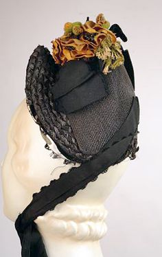 1870's BLACK STRAW BONNET