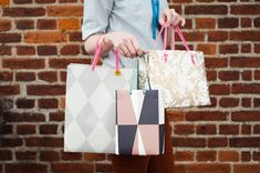 bags made out of wrapping paper! genius!