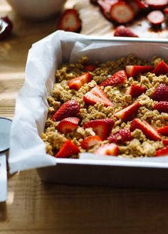 Easy whole grain strawberry breakfast cake