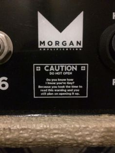 Guitar Amp WTF warning label