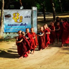 'Baby Monks'....this photo was taken by my niece who is travelling through Myanmar  Burma on the last leg of her trip around the world with her fiance ♥