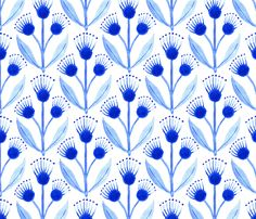 Three Blue Flowers fabric by kirsten_sevig on Spoonflower - custom fabric