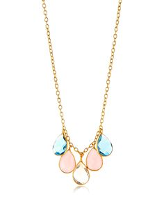 Saachi Blue Topaz, Rose Quartz, Crystal Quartz Teardrop Necklace at MYHABIT