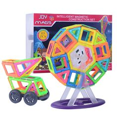 61.19$  Watch here - http://ali0sj.worldwells.pw/go.php?t=32591118280 - Magnetic 89pcs magnetic designer kits Building Models Toy with Windmill Car Enlighten Plastic Educational for Toddlers 61.19$