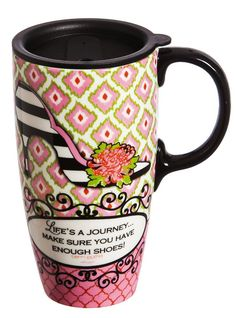 'Life's A Journey' 17 oz. Ceramic Latte Travel Cup with Gift Box -- Amazing product just a click away  : Coffee Mugs