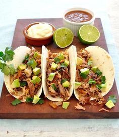 Taco spread in 15 minutes using leftover Pork Carnitas (Mexican Pulled Pork) and Restaurant Style Salsa. #Mexican