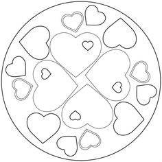 Show your love for Mom or Dad with this hearts mandala. More FREE mandala coloring sheets available to download from www.kigaportal.com!