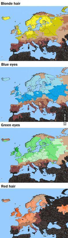 Blonde hair, red hair, blue eyes... In Europe