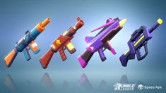 A collection of the weapons created for the characters in Rumble League. Game Concept Art, Weapon Concept Art, Tank Drawing, Magical Jewelry, Cool Guns, Game Art, Weapons, Characters, Space