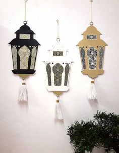 Ramadan hanging ornaments lantern from cardboard, Eid id Mubarak. One piece. Ramadan hanging ornaments lantern from wood decoration on Eid Crafts, Ramadan Crafts, Diy And Crafts, Eid Mubarak, Decoraciones Ramadan, Ramadan Activities, Islamic Decor, How To Make Lanterns, Lanterns Decor