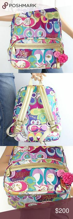 """RARE COACH POPPY POP C BACKPACK! EUC! HTF! Coach Poppy Pop C Backpack EXCELLENT CONDITION! Item:?F19432 Color: B4/Multicolor Signature fabric with metallic leather trim Inside zip and multifunction pockets Zip closure, fabric lining Outside front zip pocket Top handle Adjustable shoulder?straps Approximately: 12"""" L x 14.5"""" H?x 5"""" W SMOKE FREE Coach Bags"""