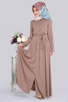 * YENİ ÜRÜN ** Düğmeli Tesettür Elbise Vizon Ürün kodu: KWL3041 --> 94,90 TL