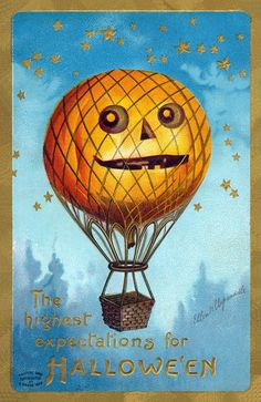 I love this vintage Halloween print of a jack-O-lantern hot air balloon! Also, if you click the image, it will bring you to a collection of public-domain vintage Halloween images Retro Halloween, Vintage Halloween Images, Victorian Halloween, Vintage Holiday, Vintage Images, Halloween Ideas, Halloween Stuff, Halloween Crafts, Halloween Costumes