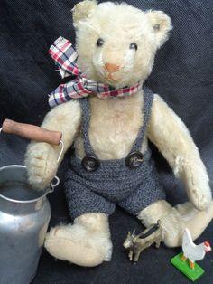 RARE White Antique Steiff Teddy Bear 1905 Farmer w Button Long F Voice Bear | eBay