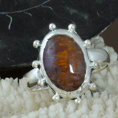 925 SOLID STERLING SILVER AMAZING Cacaxonite RING 4.15g DJR9716 SZ-8 #Handmade #Ring