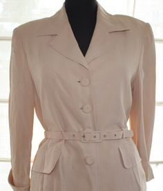 Vintage beige wedding suit size 14 by TheBonjEmporium on Etsy