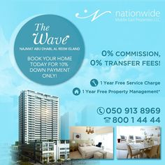 1 Bedroom Wave tower, Reem Island with 10% Down Payment  1 Year Free of Service Charges  No Transfer Fees + No Commission  ☎ 800 1 4444   #wavetower #thewavetower #property #reemisland #uae #dubai #propertymanagement #realestate #realtors #realestateinvestment #investors #investment #properties #dubizzle #propertyfinder #followme #realestatebrokers #luxuryhomes #boss_homes #abudhabi #Nationwide_AD #househunting #JustListed #HomeSale #illiondollarlisting #listing #luxuriousrealestate #ابوظبي