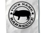 Personalized Barbecue Logo Tote Bag  reusable grocery bag bbq barbeque personalized great gift for dad uncle brother or friend