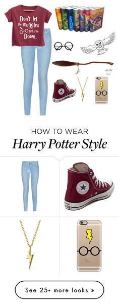 """Harry Potter⚡️"" by hwatson52 on Polyvore featuring 7 For All Mankind, Nimbus, Converse, Bling Jewelry and Casetify"