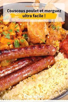 Couscous poulet et merguez facile - The Best Authentic Mexican Recipes Shellfish Recipes, Meat Recipes, Gourmet Recipes, Mexican Food Recipes, Cooking Recipes, Healthy Recipes, Authentic Mexican Recipes, Berry, Fun Easy Recipes