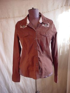 Mossimo Rockabilly Blouse Shirt Brown Snap Front size XL Embroidered Long Slv #Mossimo #Blouse #Casual  Seller florasgarden on ebay