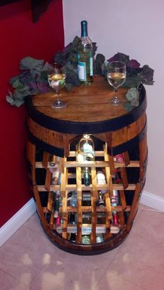 Whiskey barrel wine rack.