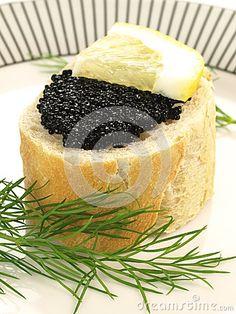 Black caviar with Lemon slice on baguette. Beluga Caviar, Caviar Recipes, Sandwich Cake, Lemon Slice, Pot Luck, Best Appetizers, Ova, Savoury Cake, Food Design