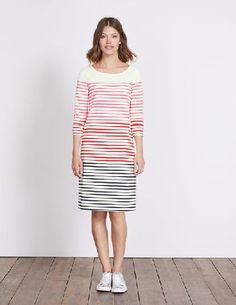 #Boden Lille Breton Dress Pink Fizz Multi Stripe Women #When it comes to stripes, no one does them better. Take your breton to the next level with this relaxed dress. It requires absolutely zero effort to look good in and has stripes that line up across the body and sleeves (were clever like that).