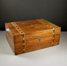 Antique Marquetry Inlay Wooden Box // Locking Document Keeper // Vintage Distressed Office Decor // from Successionary.