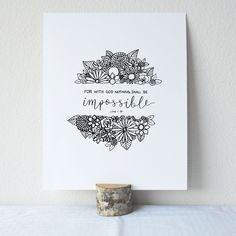 Printable Bible Verses, Printable Art, Printables, Bullet Journal Art, Bullet Journal Ideas Pages, Flower Art Drawing, Luke 1, Bible Verse Art, Online Print Shop