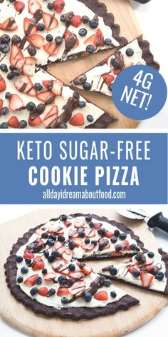 Kids love this easy keto dessert pizza with a chocolate cookie crust. Topped with a sugar-free cream cheese frosting and fresh berries, it's the perfect low carb dessert for any occasion. # Desserts for kids The Original Keto Cookie Pizza Low Carb Sweets, Low Carb Desserts, Easy Desserts, Delicious Desserts, Sugar Free Cookies, Sugar Free Desserts, Keto Cookies, Cookie Pizza, Cookie Crust