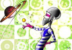 """""""Alien"""" Ilustración a lápiz y tinta, coloreada con Photoshop."""