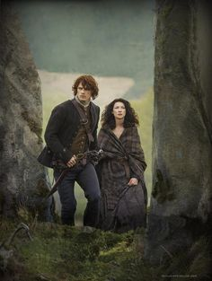 Jamie (Sam Heughan) & Claire (Caitriona Balfe) Fraser enter Craigh na Dun | Outlander S1bE11 'The Devil's Mark' on Starz | Costume Designer TERRY DRESBACH www.terrydresbach.com