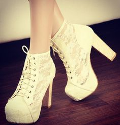 Tie up, cream, lace ankle boots #girly #chic #heels