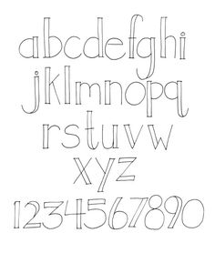 Hand-lettering, alphabet with thin lines. Open font outlined alphabet type style.