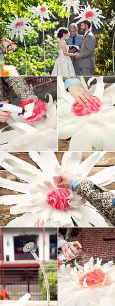 diy giant paper flowers - tutorial from green wedding shoes, here: http://greenweddingshoes.com/diy-giant-flowers/