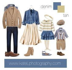 Tan/denim outfit inspiration: what to wear for a family photo session in the fall. Created by Kate Lemmon, www.kateLphotogra...