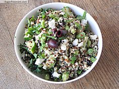 Greek Style Tri-Color Quinoa Salad (take out cheese for #Vegan option) #GF