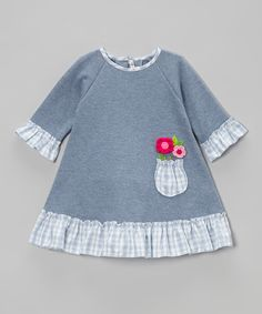 Love this Blue Pocket Flower Ruffle Dress - Infant & Toddler by Victoria Kids on #zulily! #zulilyfinds